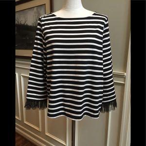 J Crew 3/4 sleeve black/white stripe top